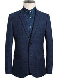 Lapel Single-Breasted Long Sleeve Vintage Plaid Blazer For Men - Deep Blue M