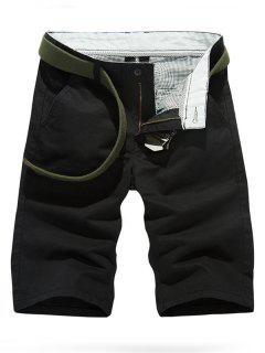 Solid Color Slim Fit Casual Shorts For Men - Black 30