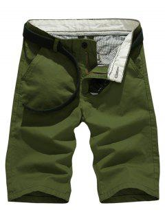 Solid Color Slim Fit Casual Shorts For Men - Army Green 31