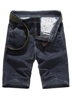 Classic Stitching Design Pure Color Denim Shorts For Men - Denim Blue 33