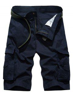 Casual Pockets Design Loose-Fitting Cago Shorts For Men - Purplish Blue 30