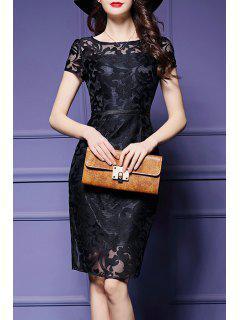 See-Through Floral Sheath Dress - Black S
