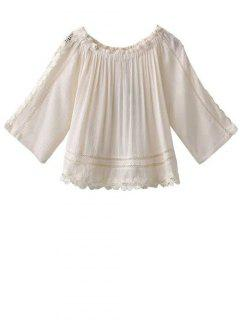 Boat Neck 3/4 Sleeve Lace Blouse - White S