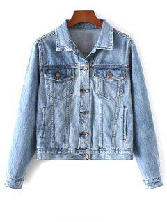 Pockets Shirt Neck Denim Jacket - Denim Blue S