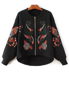 Embroidered Stand Neck Zipper Cardigan - Black