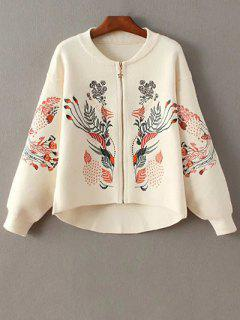 Embroidered Stand Neck Zipper Cardigan - Off-white