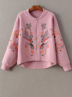 Brodé Stand Cou Zipper Cardigan - Rose