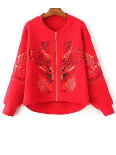 Embroidered Stand Neck Zipper Cardigan - Red