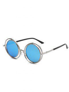 Retro Round Mirrored Sunglasses - Blue