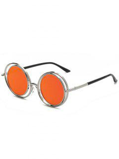 Retro Round Mirrored Sunglasses - Red