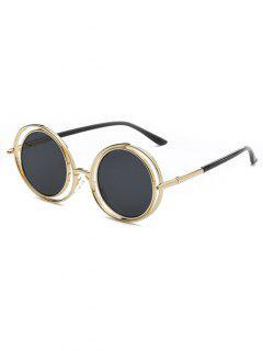 Wire Frame Round Sunglasses - Black Grey