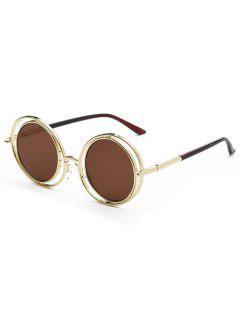 Wire Frame Round Sunglasses - Tea-colored