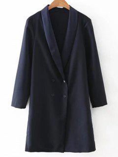 Turn-Down Cuello Doble De Pecho-Coat - Azul Purpúreo S