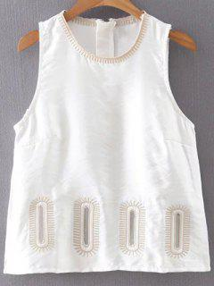 Embroidery Round Collar Tank Top - White M