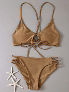 Strappy Lace-Up Bikini Set - Coffee S