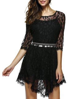 Sheer Sleeve Lace Skater Dress - Black S