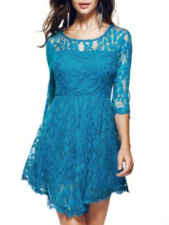 Sheer Sleeve Lace Skater Dress - Blue S