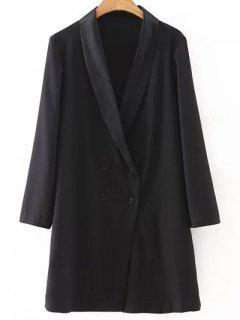 Solide Couleur Col Rabattu Double-breasted Coat - Noir S