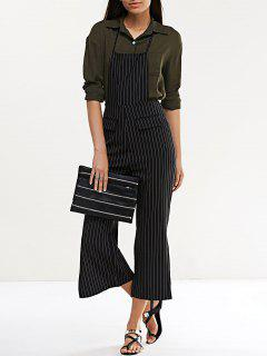 Striped Halter Side Slit Overalls - Black M