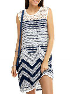 Lace Splice Round Neck Zig Zag Sundress - S