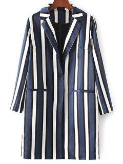 Striped Lapel Collar Long Sleeve Coat - Blue And White S