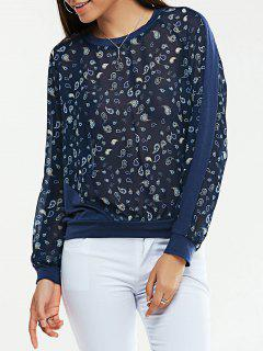 See-Through Col Rond Imprimer Blouse - Bleu Violet Xs