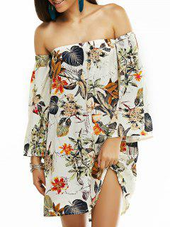 Off The Shoulder Vintage Printed Mini Dress - Gray S