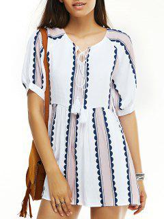 Round Neck Short Sleeve Printed Tassels Dress - White