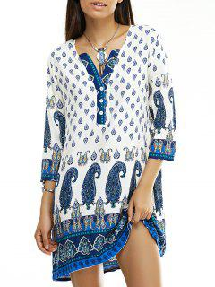 Paisley Pattern V Neck 3/4 Sleeves Dress - S