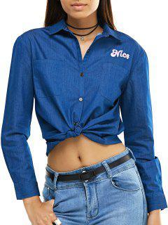 Coconut Broderie Manches Longues Chemise En Jean - Bleu Xs