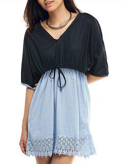 Plunging Neck Bat-Wing Sleeve Lace Spliced Ombre Dress - Black L