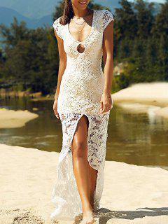 Vestido De Encaje De Hendidura Frontal Maxi - Blanco S