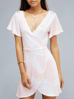 Printed Plunging Neck Short Sleeve Wrap Dress - Light Pink S