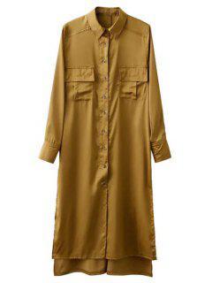 Split High Low Military Shirt Dress With Pocket - Orange Yellow S