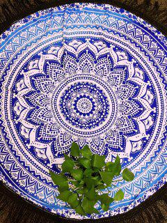 Azul Y Blanco De Las Borlas De La Toalla De Playa - Azul Y Blanco