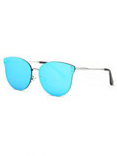 Frameless Cat Eye Mirrored Sunglasses - Blue