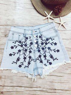 High Waisted Floral Embroidery Denim Shorts - Light Blue S