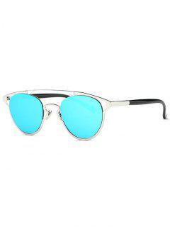 Retro Pilot Mirrored Sunglasses - Blue