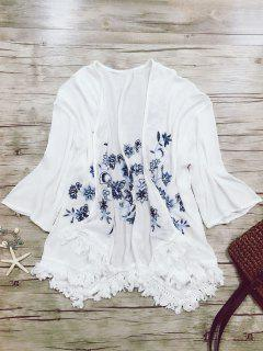 Broderie Batwing Manches Glands Spliced ​​Blouse - Blanc M