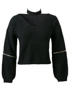 Pure Color Cuello En V Manga Larga Con Cremallera Jumper - Negro