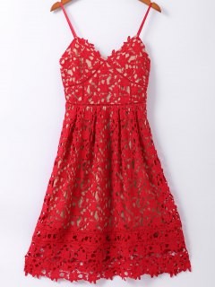 Spaghetti Strap Cut Out Crochet Flower Dress - Red S