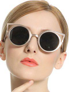 Cut Out Cat Eye Round Sunglasses - Green