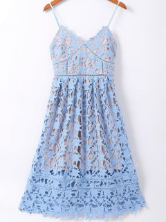 Spaghetti Straps Cut Out Crochet Flowers Dress - Azure S