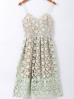 Spaghetti Straps Crochet Flower Cut Out Dress - Light Green S