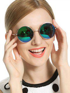 Vintage Mirrored Round Sunglasses - Blue