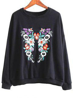 Cuello Redondo Floral Camiseta Bordada - Negro M