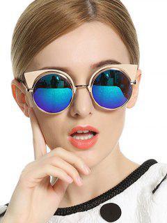 Orejas De Gato Gafas De Sol Redondas Con Espejo - Azul
