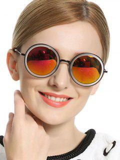 Vintage Mirror Round Sunglasses - Red