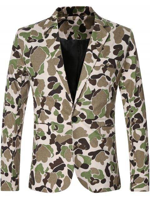 best Casual Notched Lapel Collar Single Button Opening Camo Bomber Blazer For Men -   Mobile