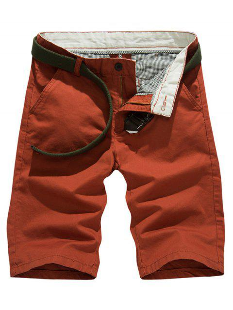 womens Solid Color Slim Fit Casual Shorts For Men - BRICK-RED 33 Mobile